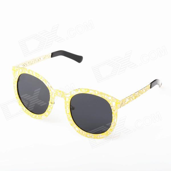 OREKA Retro Hollow-out Frog Mirror Lens UV400 Polarized Sunglasses - Black + Yellow hdcrafter driving sunglasses polarized men high quality retro aolly coating mirror sun glasses male brand designer oculos 017