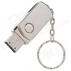 Rotational Aluminum USB 2.0 Flash Drive Keychain - Silver (16GB)