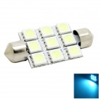 HONSCO Festoon 41mm 2W 150lm 9-5050 SMD LED Ice Blue Light Dome License Plate Bulb for Car (DC 12V)