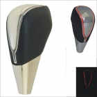 Carking PU Leather Cover Touch Activated Red LED Light Shift Knob - Black + Off-white