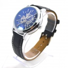 Shenhua 3952 Men's Stylish PU Band Analog Mechanical Wristwatch - Black + Silver
