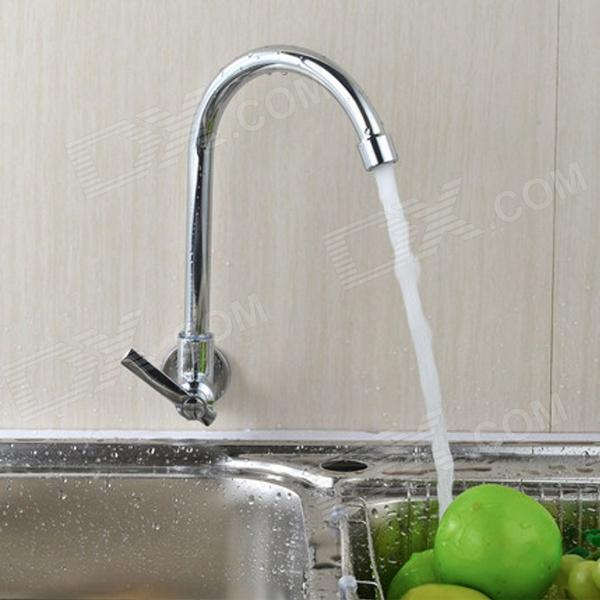 YDL-F-0581 Wall Type 360 Degrees Rotatable Chrome-plated Brass Kitchen Sink Faucet - Silver kitchen chrome plated brass faucet single handle pull out pull down sink mixer hot and cold tap modern design