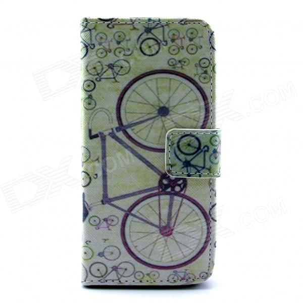 Bicycle Pattern Flip-open PU Leather Case w/ Stand / Card Slot for IPHONE 5 / 5S - Multi-Color cute owl pattern pu leather flip open case w stand card slot for iphone 4 4s multi color