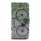 Bicycle Pattern Flip-open PU Leather Case w/ Stand / Card Slot for IPHONE 5 / 5S - Multi-Color