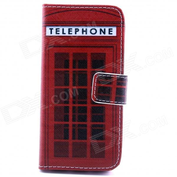 Telephone Box Pattern Flip-open PU Leather Case w/ Stand / Card Slot for IPHONE 5 / 5S - Red cute owl pattern pu leather flip open case w stand card slot for iphone 4 4s multi color