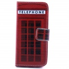 Telephone Box Pattern Flip-open PU Leather Case w/ Stand / Card Slot for IPHONE 5 / 5S - Red