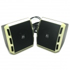 Portable 2-Channel USB Powered 3.5mm Wired Desktop Speakers Set for PC / Laptop - Gold + Black