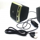 Kannettava 2-Channel USB Powered 3.5mm Langalliset Desktop Kaiuttimet Set PC / Laptop - Gold + Musta