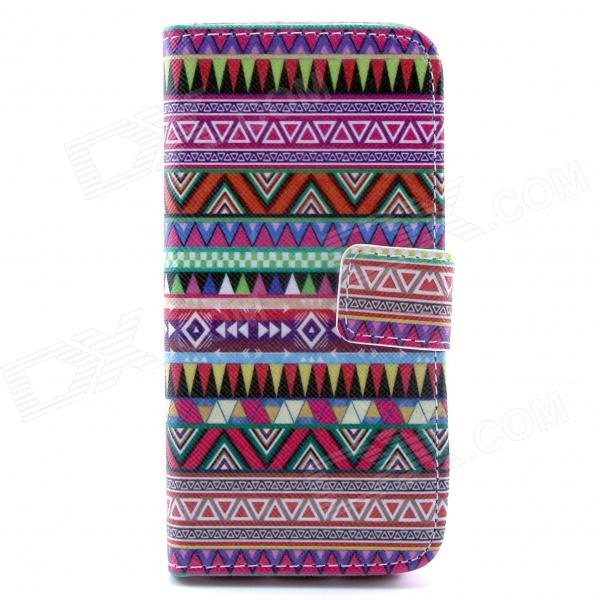 Strips Pattern Flip-open PU Case w/ Stand / Card Slot for IPHONE 5 / 5S - Purple + Multi-Color cute owl pattern pu leather flip open case w stand card slot for iphone 4 4s multi color