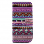 Strips Pattern Flip-open PU Case w/ Stand / Card Slot for IPHONE 5 / 5S - Purple + Multi-Color