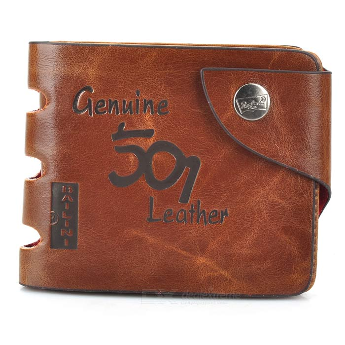 WB-WP501-1 Men's Casual Style Split Leather Short Wallet - Coffee