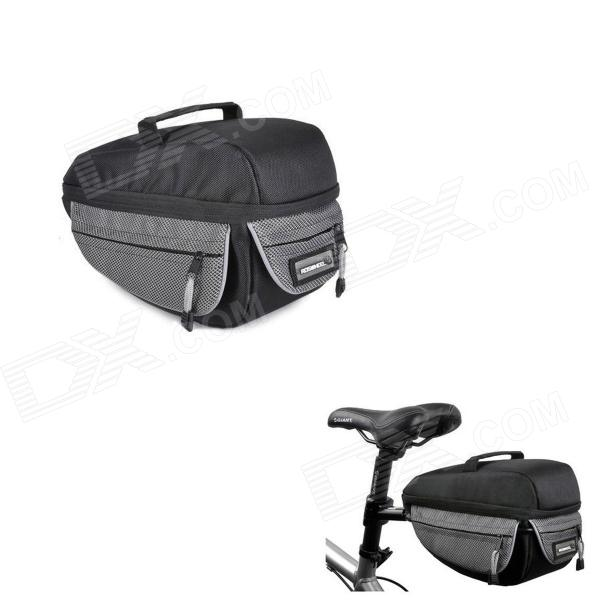 ROSWHEEL 14605 Quick Release Bike Bicycle Rear Rack Seat Pannier / Saddle Tail Bag - Black + Grey roswheel mtb bike bag 10l full waterproof bicycle saddle bag mountain bike rear seat bag cycling tail bag bicycle accessories