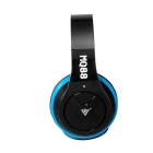 MQ88 3.5mm Wired Headband Headphones with Microphone - Black + Blue (1.2m-Cable)