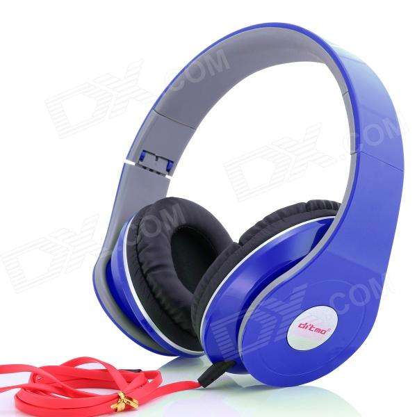 Ditmo 3.5mm Adjustable Foldable Headband Noise Canceling Stereo Headphone - Dark Blue merrisport lightweight foldable wired girls headphones kids headsets with microphone and remote control for computer phone mp3 4