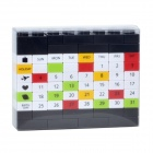 DIY Desk Calendar Building Blocks Educational Toy - Black + Multicolored