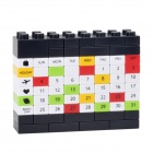 DIY Desk Calendar Building Blocks Educational Toy - Musta + Monivärinen