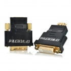 2-in-1 HDMI Male to DVI Female + HDMI Female to DVI Male Adapter - Black + Golden