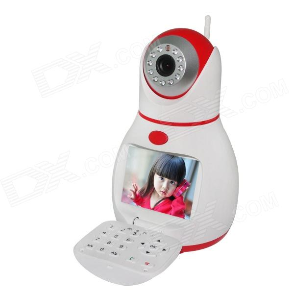 WANSCAM HW0037 1/4 CMOS 0.3MP Network Phone IP Camera w/ 11-IR-LED / Wi-Fi - White + Red (EU Plug) wanscam jw0004 1 4 cmos 0 3mp wireless p2p indoor ip camera w 13 ir led wi fi white uk plug