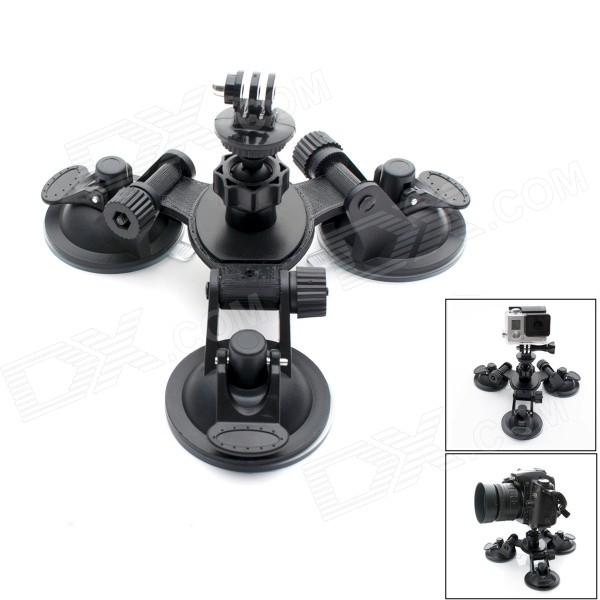 JUSTONE 3-Suction Cup Holder Mount for SJ4000 / GoPro Hero 4/3 / 3+ / Sony AS15 / AS30/SJ4000 - Black justone 360 degree rotational 1 4 car suction cup mount holder w adapter for gopro hero 4 more