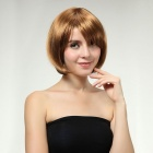 Cosplay Party Makeup Tilted Bang Short Straight Synthetic Fiber Hair Wig - Golden