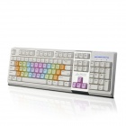 Ajazz  AK10 LED 3-Color Backlit USB Wired Iridescent Gaming Keyboard - White