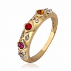 Women's Fashionable Crystal Studded Ring - Golden + Multicolored (US Size 8)