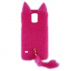 Fashion Plush Mink Style Protective PC Case with Tail for Samsung Galaxy S5 - Deep Pink