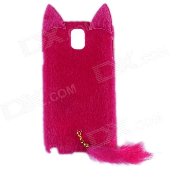 Fashion Plush Mink Style Protective PC Case w/ Tail for Samsung Galaxy Note 3 - Deep Pink metal ring holder combo phone bag luxury shockproof case for samsung galaxy note 8