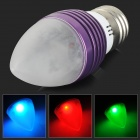 E27 3W 30lm 1-LED RGB Light Remote Control Candle Lamp - Purple (AC 85~265V)