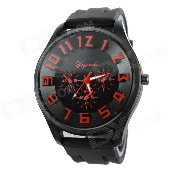 Men's Military Style Black Case Silicone Band Analog Quartz Wrist Watch - Red + Black (1 x 377)