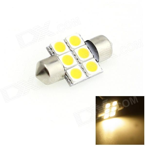 HONSCO Festoon 31mm 1W 80lm 3000K 6-5050 SMD LED Warm White Light Dome Reading Bulb (DC 12V)