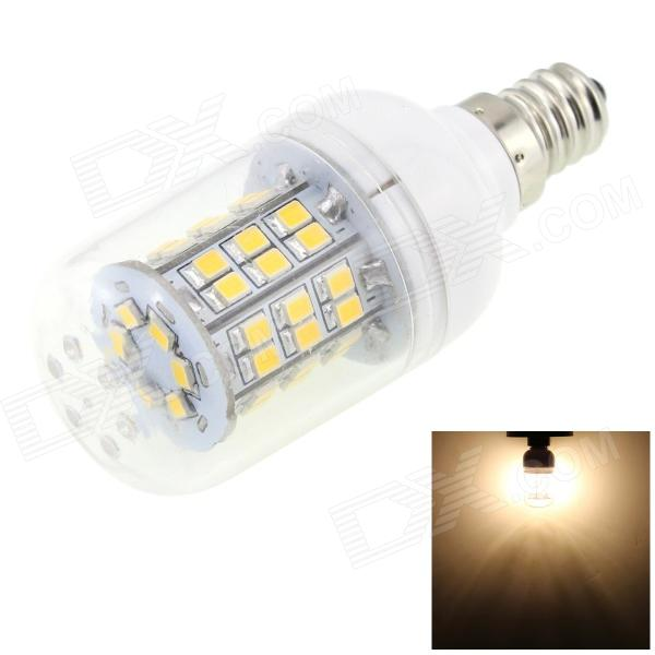 HONSCO E12 3W 260lm 3000K 48-SMD 2835 LED Warm White Corn Lamp - White + Silver (AC 85~265V) honsco e27 5w 400lm 3000k 84 smd 2835 led warm white light bulb white silver ac 85 265v