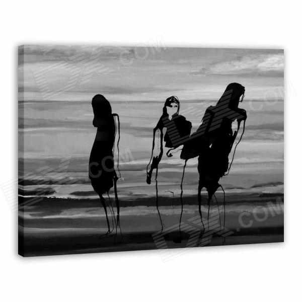 Larts Abstract Beach Girl Hand Painted Oil Painting - Black + Grey painted by a distant hand – mimbres pottery of the american southwest