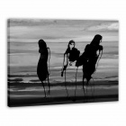 Larts Abstract Beach Girl Hand Painted Oil Painting - Black + Grey