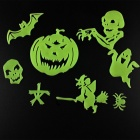 Halloween Style Retro Luminous Decorative Stickers Pastes - Fluorescent Green (8 PCS)