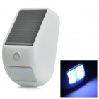 1W 200lm 6500K 4-LED Cool White Solar Powered Human Body Induction Wall Lamp - White + Black (3.7V)