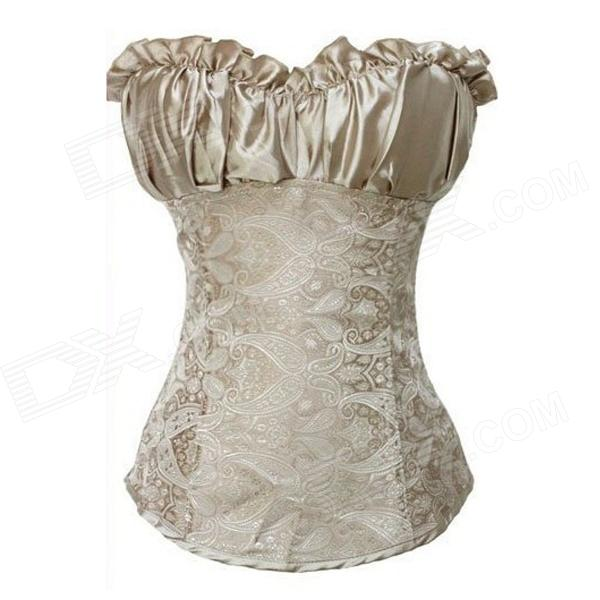 TOPMELON Women's Sexy Satin Body Shaper Corset - Light Brown (L)