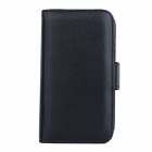 Lichee Pattern PU Leather Full Body Case with Card Slot for Samsung Galaxy S5 - Black