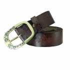 N79 Women's Genuine Leather Vintage Flower Carved Pin Buckle Belt - Brown
