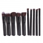 Portable Professional Cosmetic Makeup Fiber + Wood Brushes Set - Black (10 PCS)