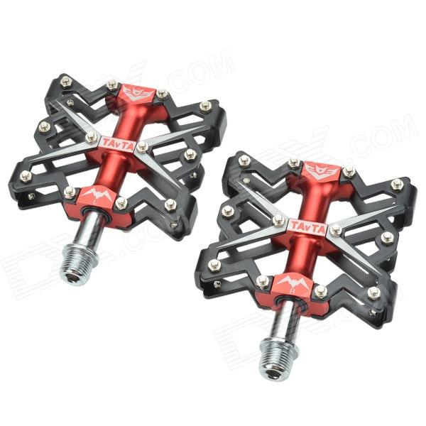 Tavta Lightweight Three Bearings Aluminum Alloy Bicycle Bike Pedals - Black + Red (2 PCS)