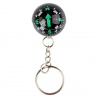 CM01 Outdoor Survival Compass Ball w/ Keychain - Black + Green (10 PCS)