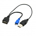 CY U2-265-BK Micro USB OTG Cable with USB Power for Samsung Galaxy Note 3 / S3 / S4