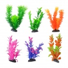 Decorative Artificial Simulation Water Plants for Aquarium Fish Tank - Orange + Blue (6 PCS)