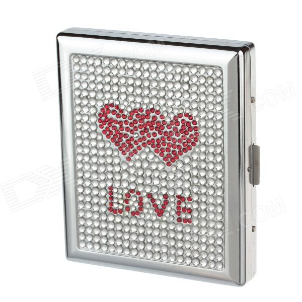 LOVE Style Rhinestone Studded Aluminium Alloy Clamshell Double-Sided Cigarette Case - Sliver + Red