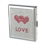 """LOVE"" Style Rhinestone Studded Aluminium Alloy Clamshell Double-Sided Cigarette Case - Sliver + Red"