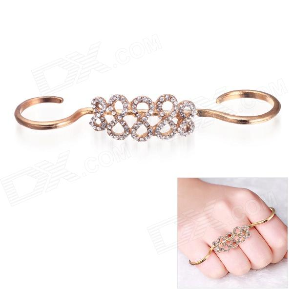 eQute RPEW16C3 Women's Fashionable Rhinestone Studded Double Finger Ring - Golden (US Size: 8)