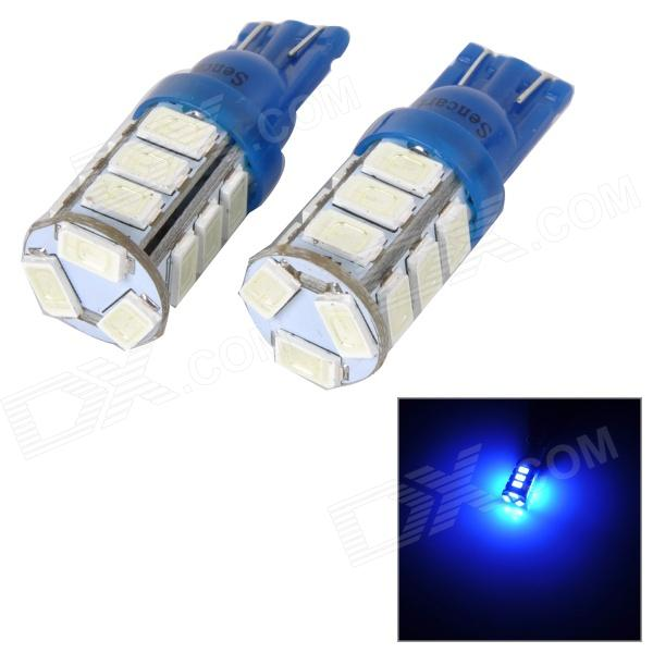 SENCART T10 4W 40lm 490nm 5730 SMD LED Blue Light Lamp for Car / Motorcycle (2PCS / DC 12~16V)