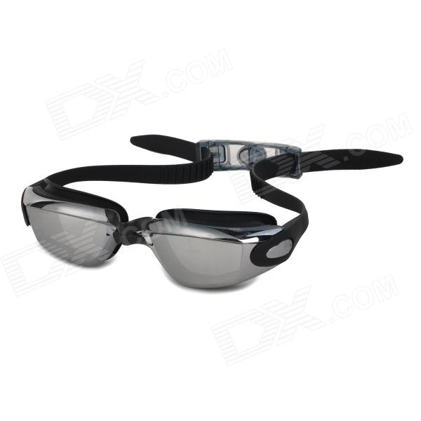 WIN.MAX WMB53702H Men's UV Protection Anti-Fog Mercury Plated Frame PC Lens Swimming Goggles - Black