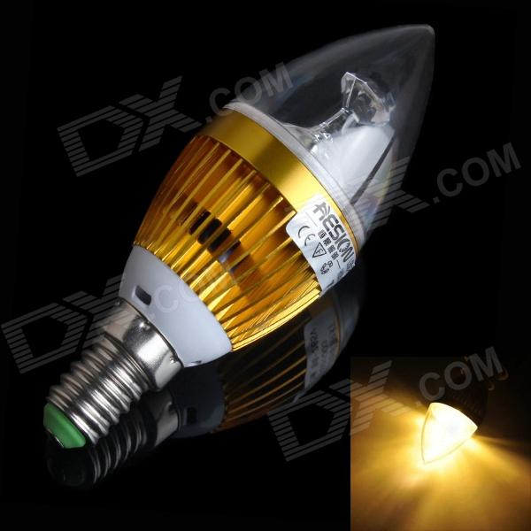 HESION HS01003C E14 3W 270lm 3000K 3-LED Warm White Candle Bulb w/ Cree - Golden (AC 85~265V)